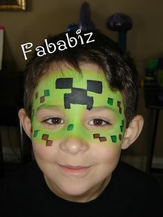 Boys favorite these days.  A minecraft face painting.  This is an easy and fast one to do.