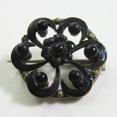 Small Antique Victorian Mourning Pin French Jet