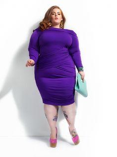 "Plus Size Clothing by Monif C. - ""NICOLE"" COLD SHOULDER RUCHED DRESS -Purple"