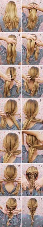Classic Fishtail Braid Tutorial- thicker strands looks better. Less fishy Coiffure Hair, Tips Belleza, Hair Day, Trendy Hairstyles, Braid Hairstyles, Gorgeous Hair, Hair Designs, Hair Hacks, Hair And Nails
