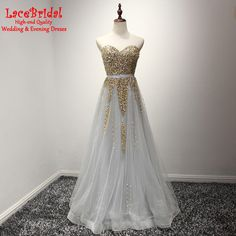Find More Evening Dresses Information about Real Luxury Silver and Gold A Line Sweetheart Rhinestone Beaded Evening Dresses 2016 Long Party Prom Gowns robe de soiree TE188,High Quality dress abaya,China dresses mother of the bride Suppliers, Cheap dress greens from do dower LaceBridal Store on Aliexpress.com