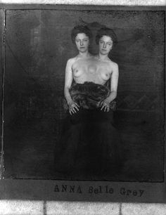 Trick photograph of woman with two heads, circa 1900