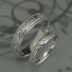 Solid 14K White Gold Flourish Wide Wedding Band SetSwirl