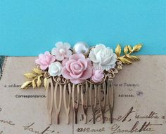 Pink Wedding Hair Comb Gold Blush Soft White Bridal Comb Flower Leaf Floral Headpiece Romantic Shabby Chic Whimsical Vintage Style JW PM