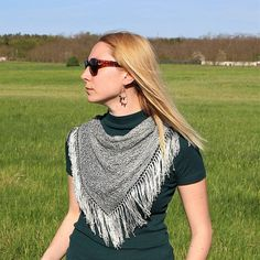 Light Green Tassels Triangle Scarf / Hand Knitted Green Lightweight Scarf / Formal Wear Accessories / Unique Fashion Gift Idea