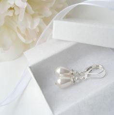 White Teardrop Pearl Bridal Earrings by LRichardsDesign on Etsy, $20.00