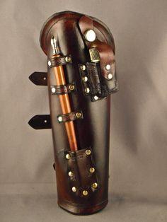 Steampunk leather bracer - Scribe -