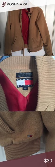 Tommy Jeans Fleece Bomber Jacket Tommy Hilfiger Fleece Bomber Jacket with Red   Lining Tommy Hilfiger Jackets & Coats