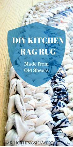 DIY Kitchen Rag Rug – Made from old Sheets Making Things is Awesome Kitchen Rag RugKitchen Rag Rug! – Making Things is AwesomeKitchen Rag Rug! – Making Things is Awesome Rag Rug Diy, Homemade Rugs, Rag Rug Tutorial, Old Sheets, Braided Rag Rugs, Crochet Rug Patterns, Diy Crochet Rag Rug, Fabric Rug, Scrap Fabric
