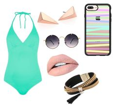 """Beach fashion #ana"" by sarah14san on Polyvore featuring moda, Topshop, Alexis Bittar, Casetify, Spitfire y Simons"