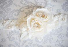 Private Collection Ivory Floral Bridal Sash - Bridal Sash