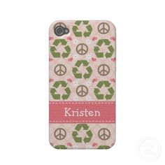 Peace Love Recycle 4 4s Case-Mate Cover by Chrissy H. Studios