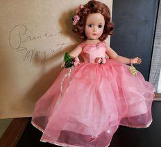 Doll is hard plastic with a brown mohair wig, sleep eyes. Margaret Rose, Princess Margaret, Forever My Girl, Vintage Madame Alexander Dolls, Vintage Dolls, Antique Dolls, Green Gown, Bride Dolls, Pink Depression Glass