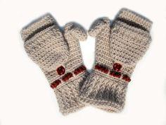Convertible mittens gloves arm warmers crochet alpaca by Mriya