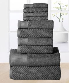 Affinity Home 10-Piece Gray Elegance Egyptian Cotton Towel Set | zulily