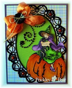 #pprstamps Love the die in black which adds a spiderweb effect!  Great embellishments to house a perfectly colored image! Stamp Used: Witch on Pumpkin - KK0038 http://www.prickleypear.com