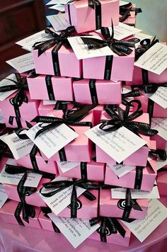 Favors were baby pink boxes full of Lavender Earl Grey cupcakes, a nod to Katherines favorite tea.