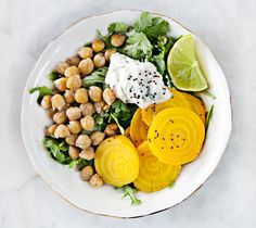 Beets and Chickpeas with Jalepeno Yogurt (Credit: Jeanine Donofrio, Love and Lemons)