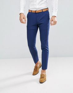 ASOS Wedding Skinny Suit PANTS in Blue Cross Hatch - Navy