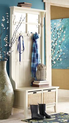 Pier 1 Alcott Hall Tree makes organizing quick and easy .... I am also pinning this because of the pretty cherry blossoms! :)