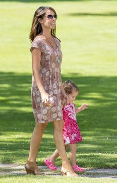 Denmark's Princess Marie and her daughter Princess Athena during the annual Summer photo call 2014 for the Royal Danish family at Grasten Castle in Denmark
