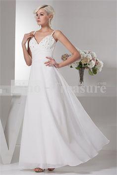 White Beading Ankle-length Chiffon Corset-back A-line Wedding Dress