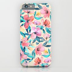 Peach Spring Floral in Watercolors iPhone & iPod Case