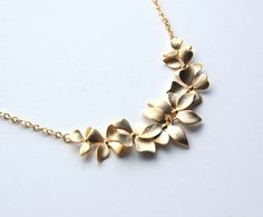 Eight Orchid Necklace gold plated gift wedding bride by Corinna Maggy Designs, $26.00