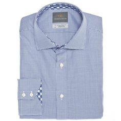 Big & Tall Blue Dobby Check Button Down Sport Shirt - Thomas Dean & Co