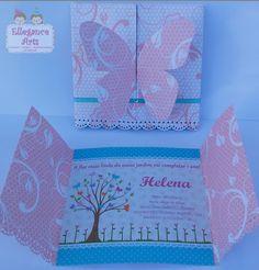 Convite Borboletas confeccionado em papel de scrapbook 180g e papel glossy 180g…