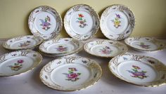 Fraureuth, early 20th century, hand-painted dessert or breakfast plates, golden details, baroque, excellent, gilded rim, antique porcelain