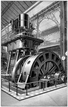 Elektrische Maschinen III. Mit Dampfmaschine von Borsig gekuppelte Dynamomaschine von Siemens u. Halske.