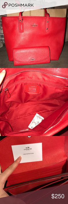 NWT Coach purse/wallet set Brand new with tags 100% authentic Coach wallet with matching purse. Gorgeous red color! Perfect for summer ! Purse is the CRSGR CITY ZIP TOTE . Wallet is LEATHER SLIME ENVELOPE. Purse authenticity number is L1623-F57522 Coach Bags Totes