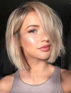 lopsided bob + short hairstyles + blonde + makeup #beauty #hairstyles #short…
