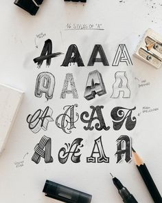 Which on is your favorite A? One Letter, Four Artists, Sixteen Styles. Graffiti Words, Graffiti Lettering Fonts, Hand Lettering Alphabet, Typography Poster Design, Graffiti Alphabet, Creative Lettering, Lettering Styles, Typography Letters, Lettering Design