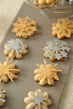 Top your Spritz cookies with a metallic candy snowflake.