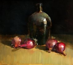 Still life with onions, painting by artist Jos van Riswick