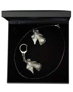 NEW, Scottish Terrier (long muzzle), dog keyring and necklace in casket, DELUXE set, limited edition, ArtDog >>> Want to know more, click on the image.