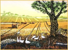 """Harvested Field"" Linocut by Rob Barnes. http://www.robbarnesart.co.uk/ Tags: Linocut, Cut, Print, Linoleum, Lino, Carving, Block, Woodcut, Helen Elstone, Landscape, Animals, Ducks, Birds, Trees, Sky"