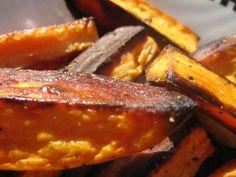 So many great sweet potato fries recipes....I prefer the basics; olive oil, sea salt, and ground black pepper!