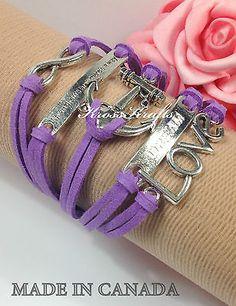 Womens Purple Infinity Bracelet Anchor Dream Love WTAW Silver Charm K915ps