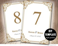 Classy Gold Table Card Template,DIY Wedding Table Card,Frame Insert,Elegant Table Card Template Printable,Gold Table Numbers Template by paperfull on Etsy