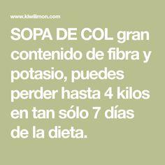 SOPA DE COL gran contenido de fibra y potasio, puedes perder hasta 4 kilos en tan sólo 7 días de la dieta.
