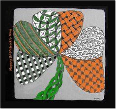 "St Patrick's Day 3.5"" X 3.5"" Zentangle."