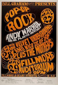 Vintage Concert Poster - BG-8, Andy Warhol, Velvet Underground,Fillmore Auditorium, San Francisco, California  5/27-29/1966