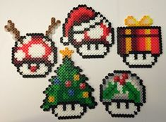 Super Mario Christmas Holiday Mushroom Perler - Craft Saturday Mom's the Gamer (original artist Alientonx)