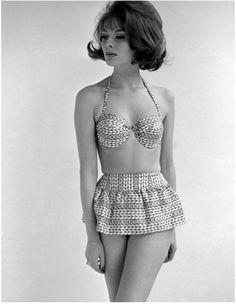 Paulene Stone modeling beachwear. Photo by John French, 1960s.