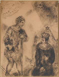 David with the Head of Goliath, comes to Saul (I Samuel, XVII, 55 58) by @artistchagall #naïveart