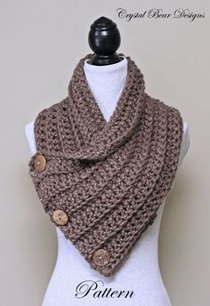 Chunky Crochet Cowl PATTERN Scarf with Buttons Neck Warmer