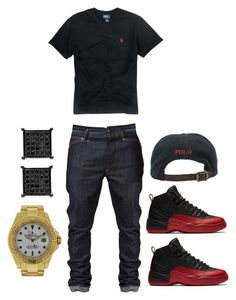 """""""OOTD"""" by rjayniice ❤ liked on Polyvore featuring Polo Ralph Lauren, Rolex, men's fashion and menswear"""